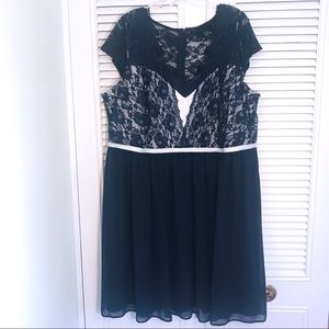 ASOS Curve - Navy Blue Chiffon and Lace Dress!